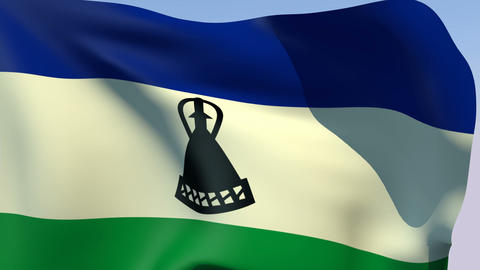 Flag of Lesotho Stock Video Footage