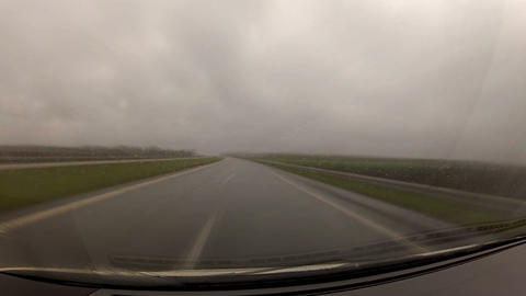 timelapse driving a car in the rain Stock Video Footage