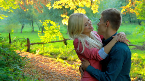 loving couple relaxing in autumn park Stock Video Footage