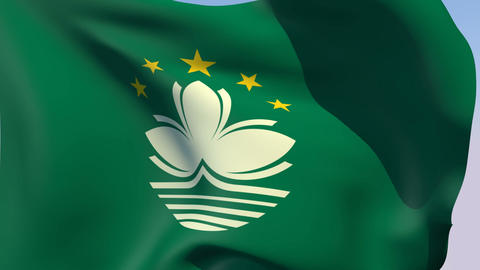 Flag of Macau Stock Video Footage