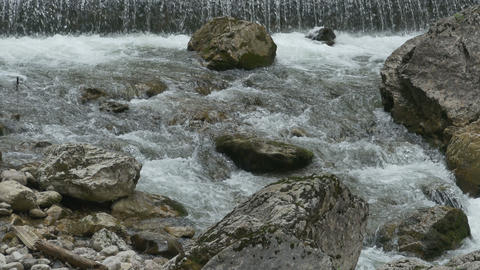 Tumultuous River with Rocks Footage