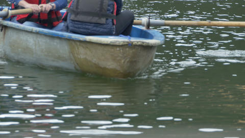 Boat with Paddles Approaching Footage