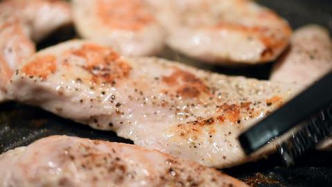 Home Preparing Of Chicken In Frying Pan Stock Video Footage