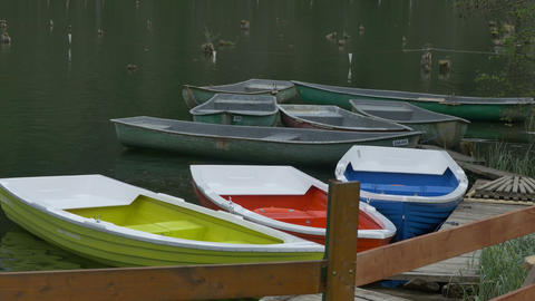 Color Boats Moored at Wharf Footage