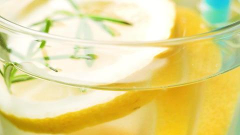 Detox water lemon cocktail Footage
