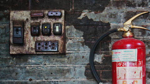 Antique Electrical Panel Board with Fire Extinguisher Footage