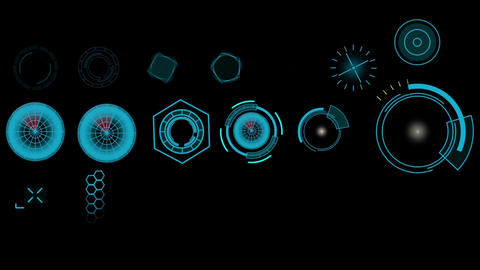 Multiple radars Sci fi design element HUD collection After Effects Template