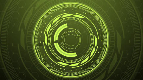 Science fiction design element green rotating turbine circles HUD After Effects Template