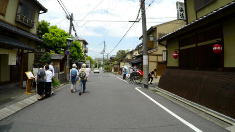POV through the local neighborhood behind Yasaka Shrine in KYOTO Footage