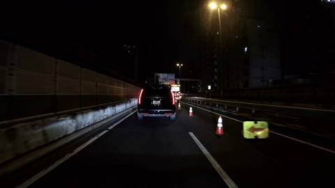 Heavy traffic caused by construction on the Tokyo Metropolitan Highway Footage