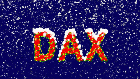 New Year text World stock index DAX. Snow falls. Christmas mood, looped video. Animation