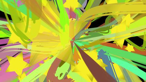 paint stroke and star loop_black CG動画