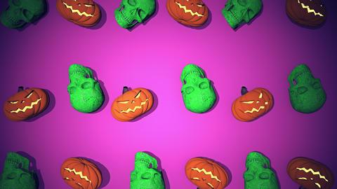 Flying in Skulls On Floor Stone Retro 90s 03 4K Animation