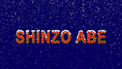 New Year text Person of the World Politics SHINZO ABE. Snow falls. Christmas Animation