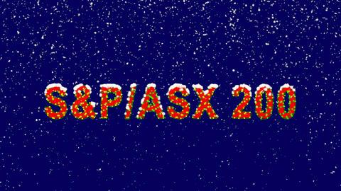 New Year text World stock index SWorld stock indexP/ASX 200. Snow falls. Animation