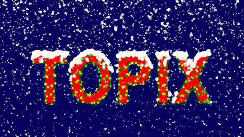 New Year text World stock index TOPIX. Snow falls. Christmas mood, looped video. Animation
