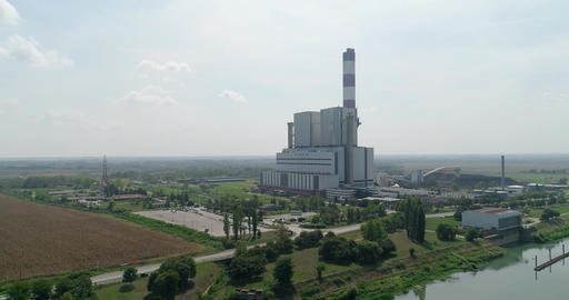 Thermal power plant camera flies over the river Footage