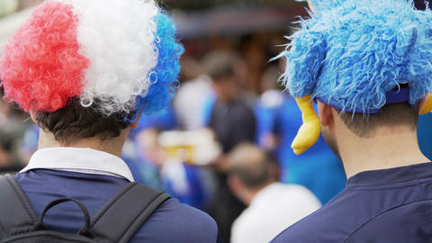Supporters in funny hats with mascots gathering to support national soccer team Live Action