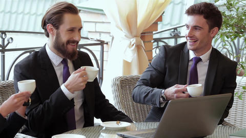 Business people enjoy healthy lunch Footage