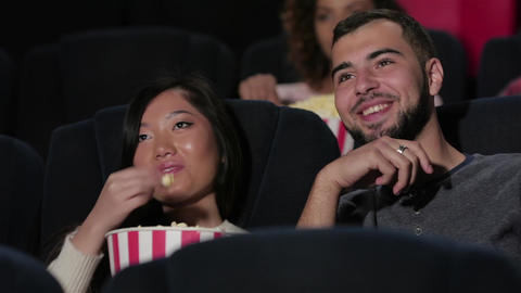 Couple in cinema watching a movie Footage