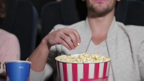 Couple in cinema theater watching a movie Footage