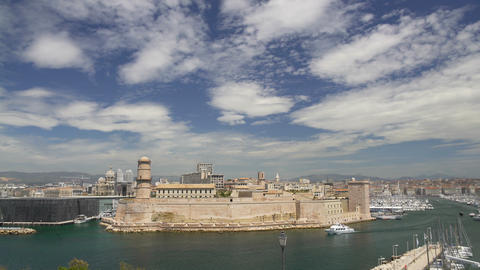 Aerial view of old port, natural harbour and main popular place in Marseille Archivo
