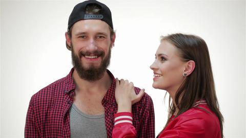Hipster girl kiss bearded man Footage