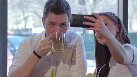 Girl makes a selfie with her boyfriend Footage