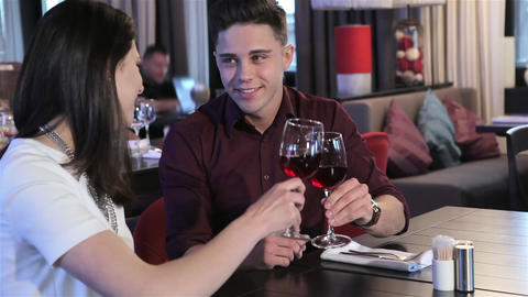 Young couple have a date at the restaurant Stock Video Footage