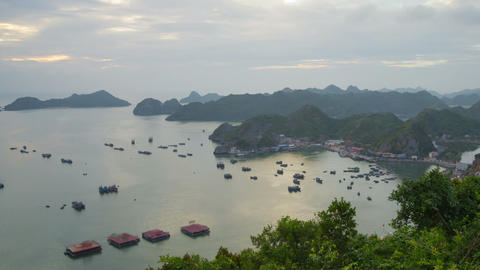 Cat Ba town sunset timelapse zoom out 4K Footage