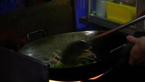 Stir fry noodles prepared Footage