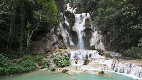 Facade of Kuang Si waterfall Footage