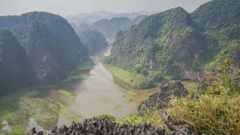 Tam Coc viewpoint day slider timelapse 4K Footage