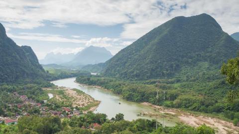 Muang Ngoy Rural Landscape Timelapse stock footage
