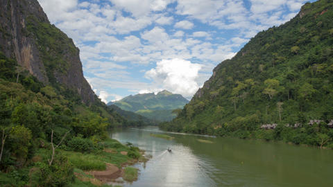 Nong Khiaw river landscape day timelapse Footage