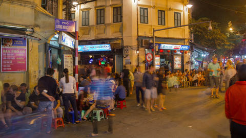 Street cafe on Bia Hoi corner district in Hanoi timelapse Footage
