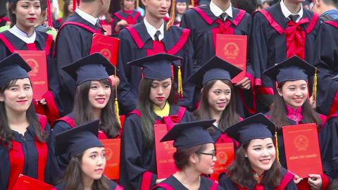 Students at the temple of Literature in graduation day Footage