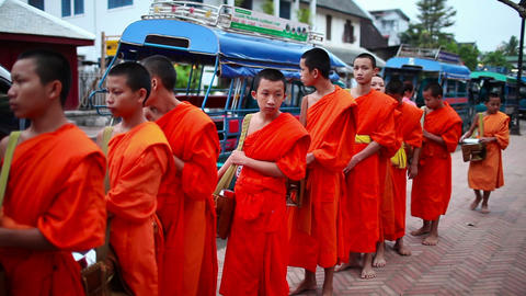 Two young monks walking street Footage