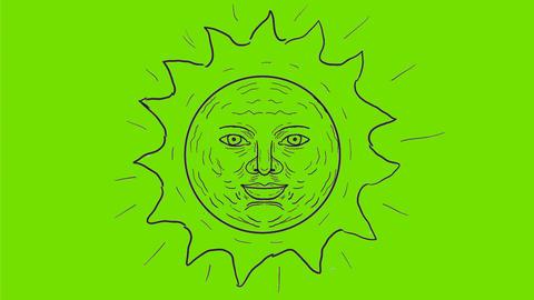 Vintage Sun Shining Drawing 2D Animation Animation