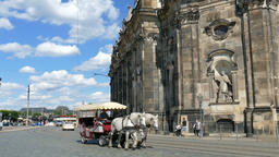 Horse cab on the street of old town in Dresden. Daily life Footage