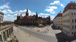 Dresden, Germany. The Royal Palace building. Rotary timelapse Live Action