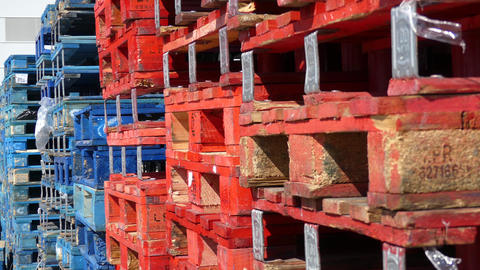 Red and Blue Pallets In Storage Archivo