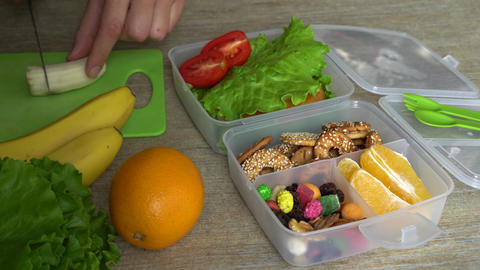 Bento box lunch for back to school and work lunches Stock Video Footage