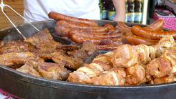 Grilled meat. Food market. Street food. Fast food Footage