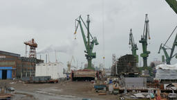 Working shipyard cranes and view on Shipyard in Gdansk Footage