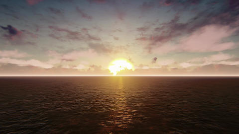 The plane flies over the Pacific ocean at sunrise Animation