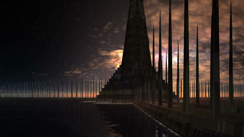 Alien Pyramid Among the Boundless Water, Stock Animation