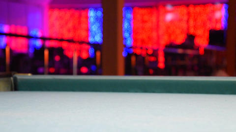 Billiards, billiard table. Balls on the billiard table Stock Video Footage