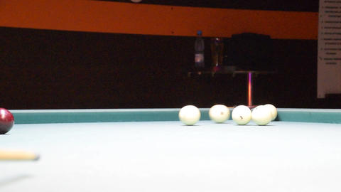 Billiards, billiard table. Balls on the billiard table Live Action