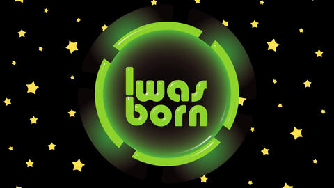 Was born green icon and stars Animation